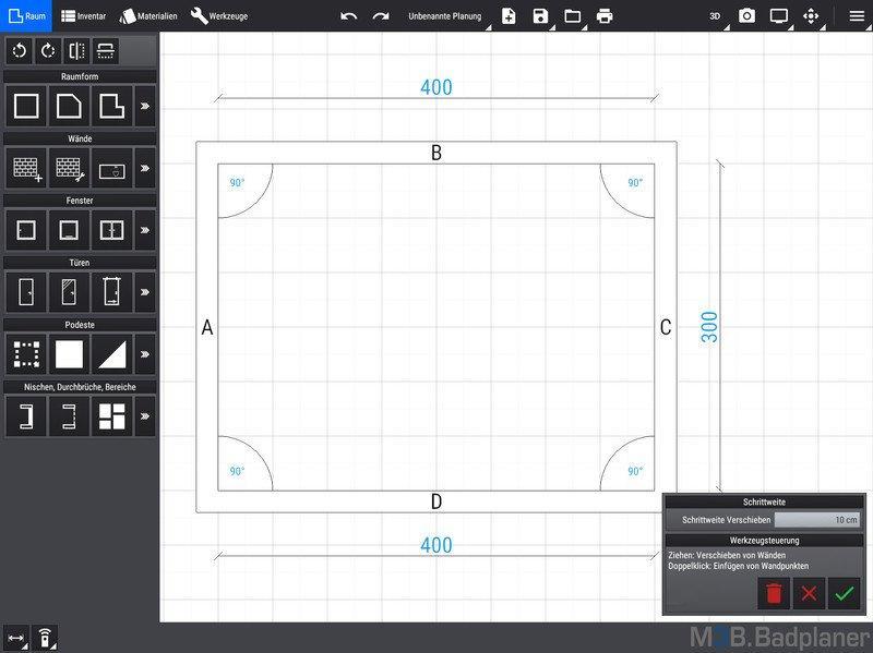 M3B Badplaner App Startbildschirm