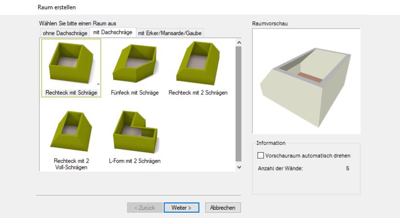 Sekundenschnelle Grundrisserstellung mit einer Vielzahl an vordefinierten Räumen