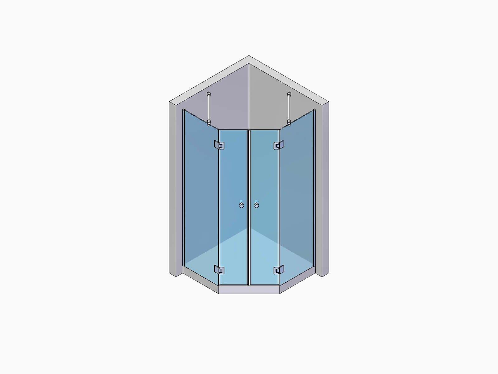 Fünfeckdusche mit zwei Türen und zwei Festteilen