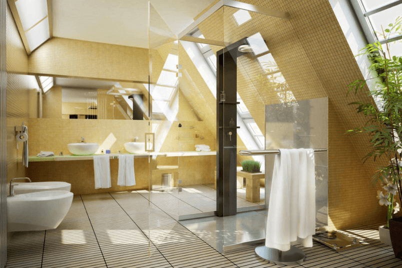 Dusche mit Schrägschnitten unter der Dachschräge