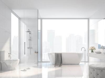 Eckdusche in hellem Bad mit zwei Glaselementem neben Badewanne und Fenster