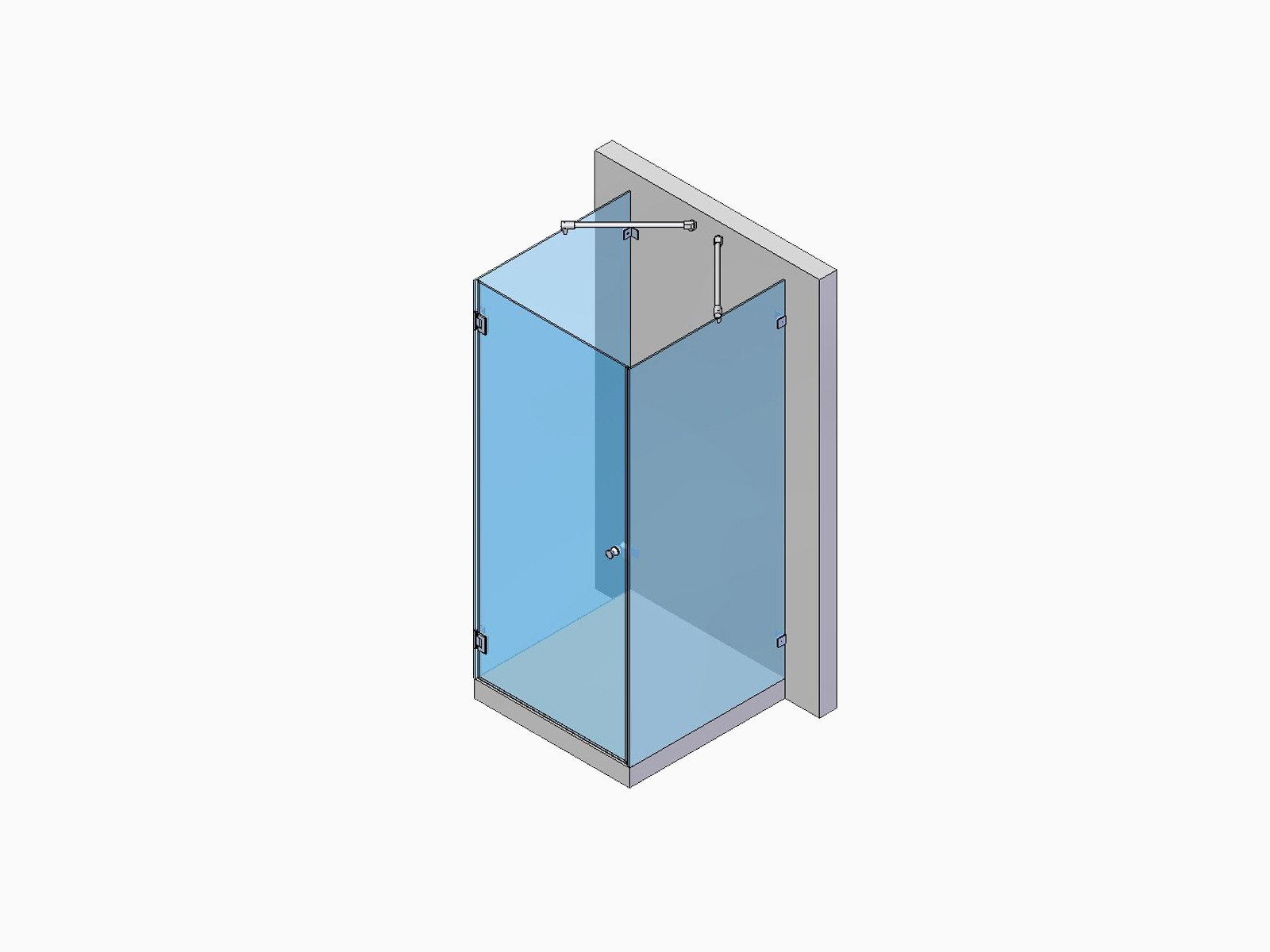 U-Dusche mit zwei Festteilen und einer Tür