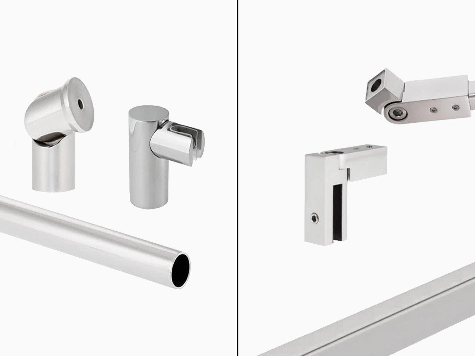 Runde und eckige Stabilisierungskomponenten für Duschen in hochgänzemden massivem Edelstahl