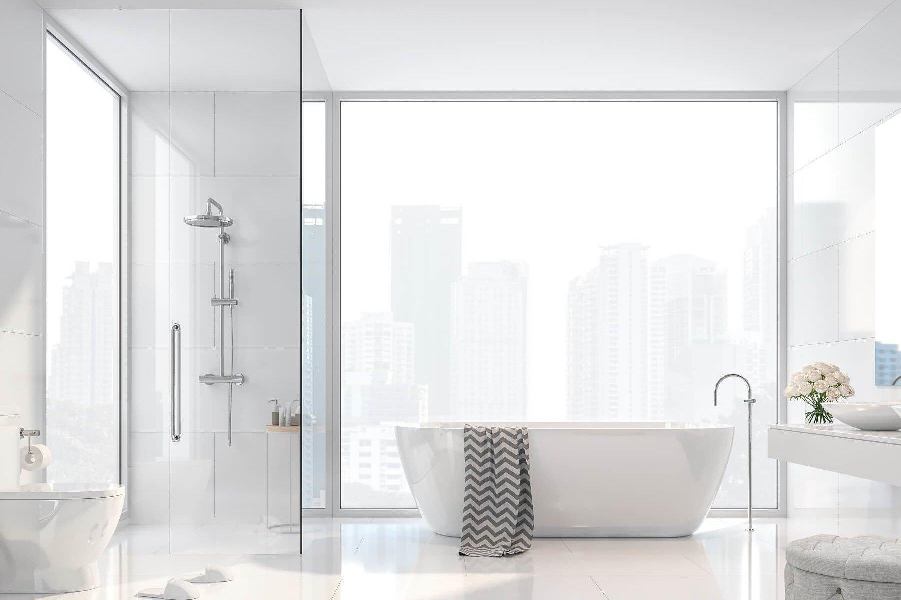 Glas Walk in Dusche an Badewanne