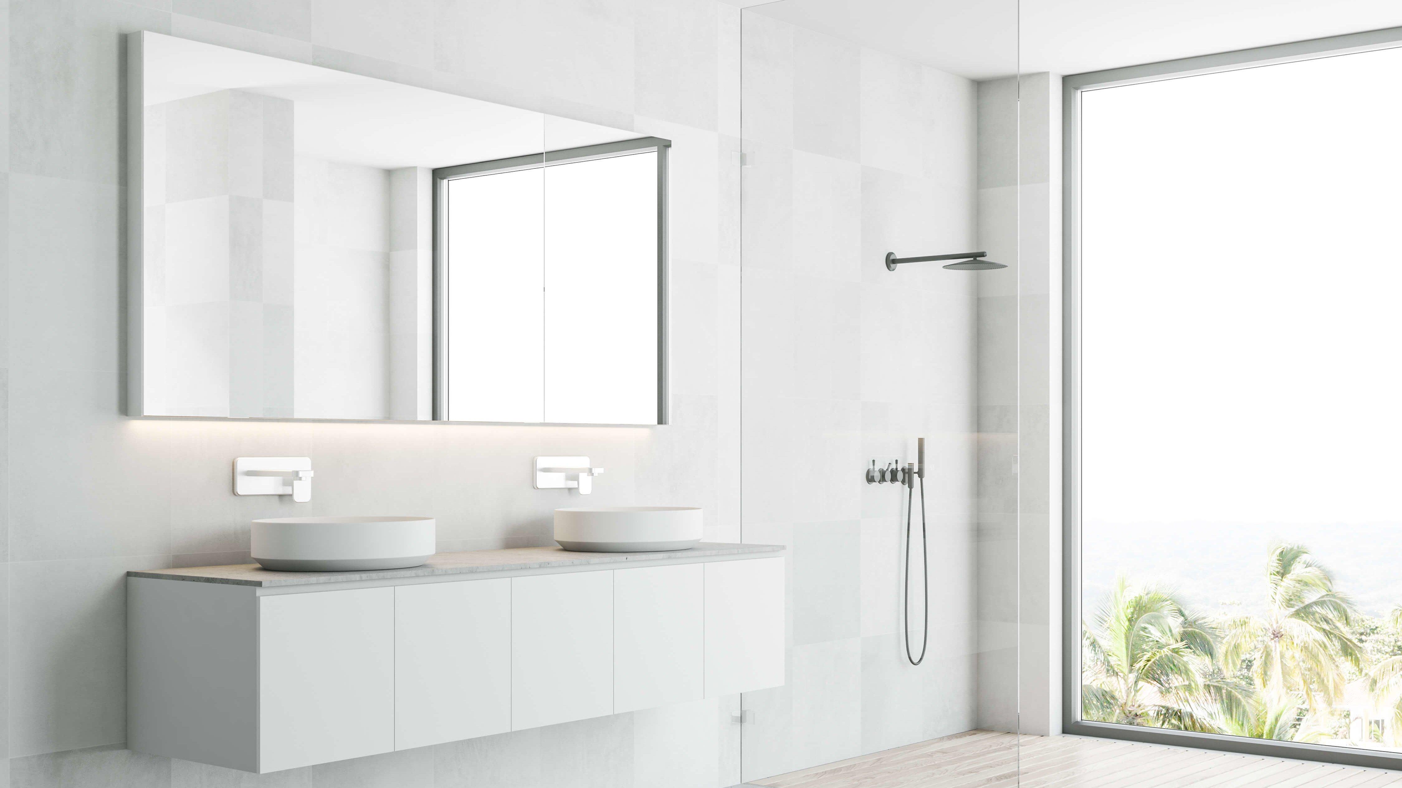 Offene Dusche ohne Abtrennung