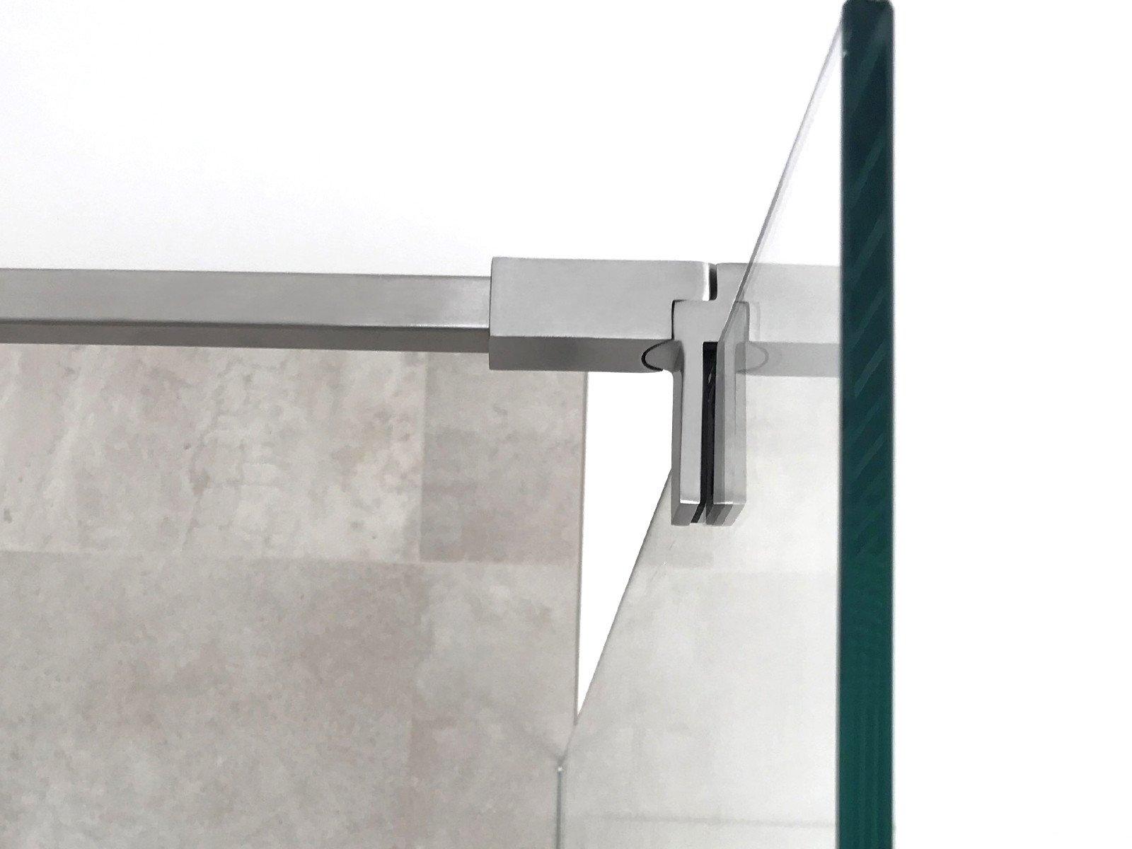 Eckige Stabilisationsstange mit Glasklemme hält Duschwand aus 8 mm ESG