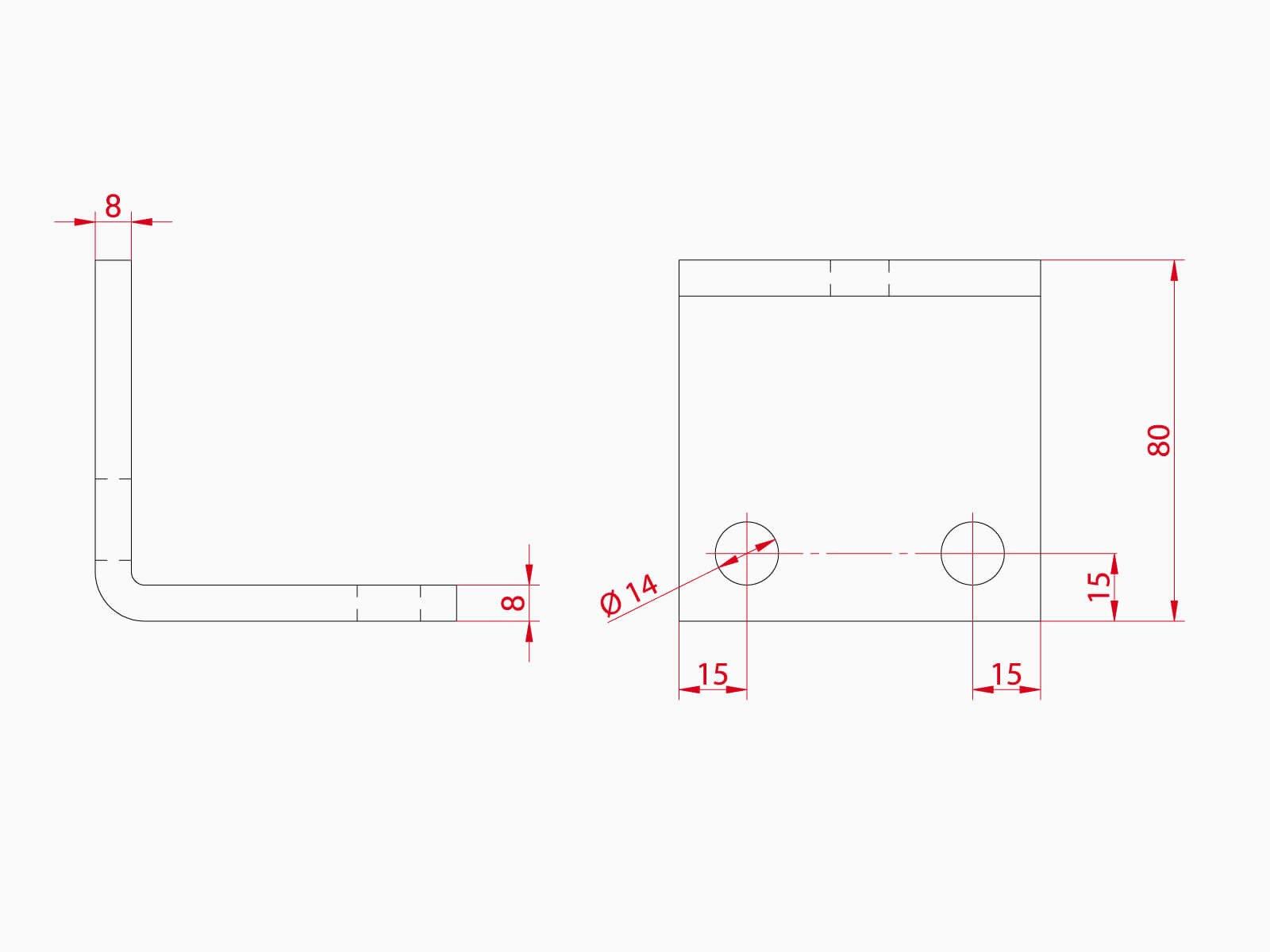 Technische Zeichnung Unterkonstruktion Glasreling BALDOSA