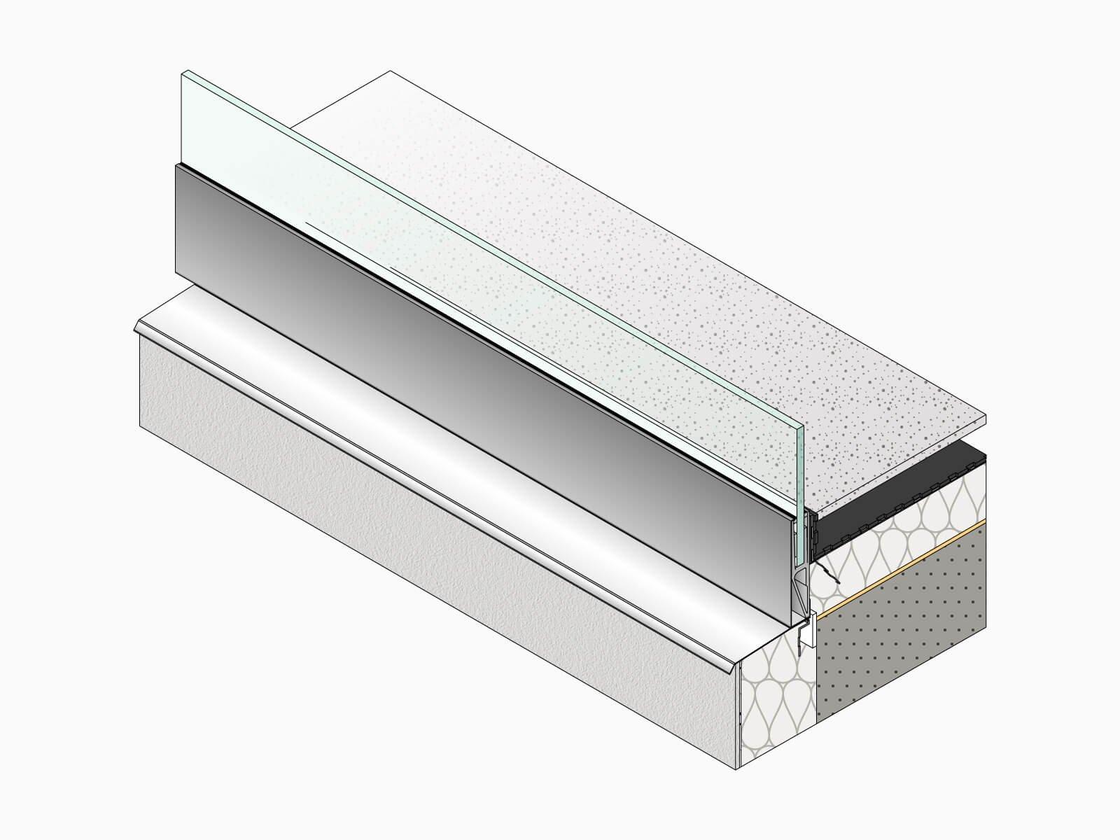Unterkonstruktion Glasbruestung BALDOSA verbaute Ansicht grosser Winkel