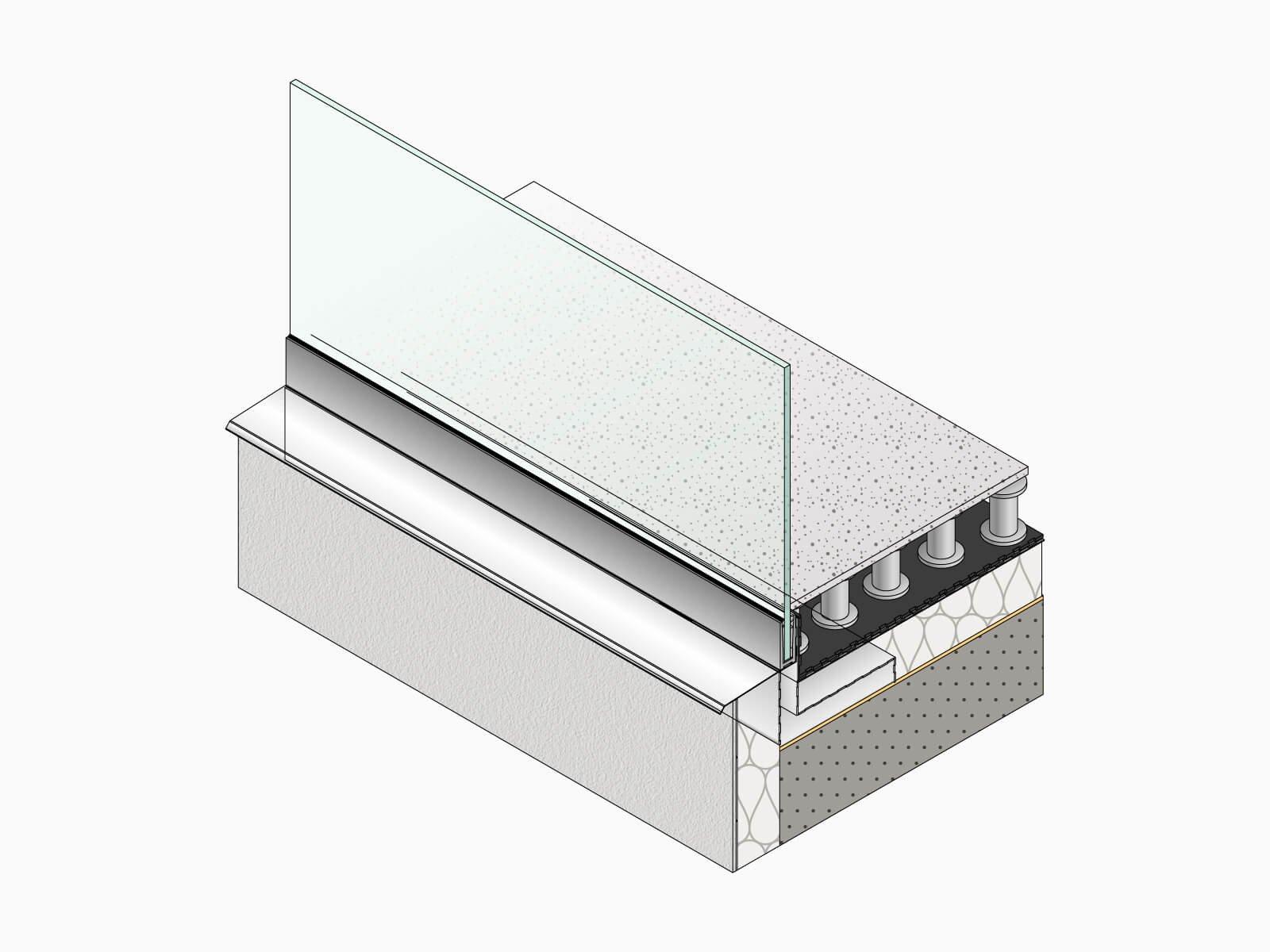 Unterkonstruktion Glasbruestung FORMAL fuer einen erhoehten Bodenaufbau