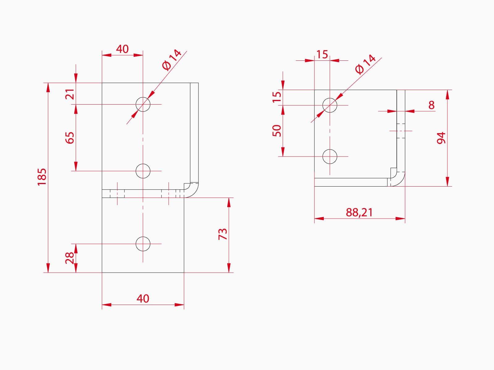 Technische Zeichnung Unterkonstruktion Glasrailing VARIANTE