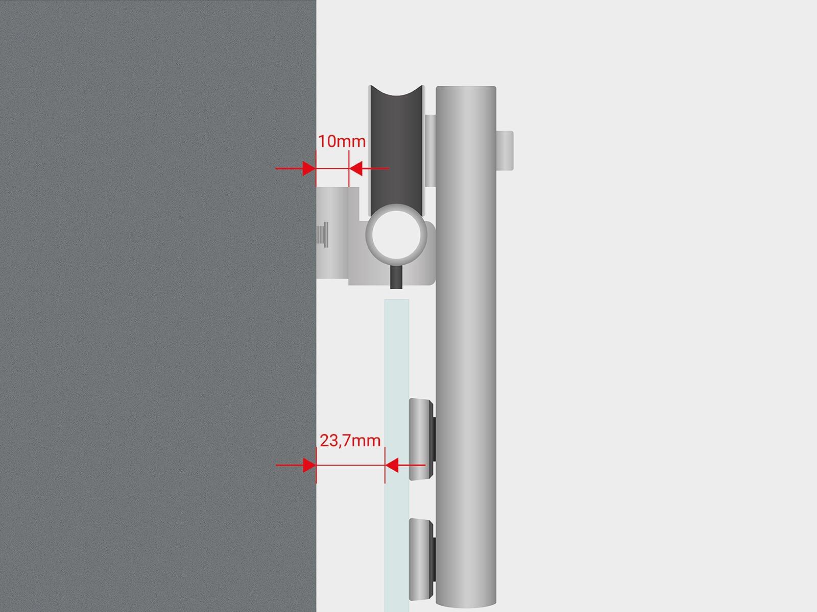 Variabler Wandabstand zwischen Wand und Glas für Schiebetür Suspens
