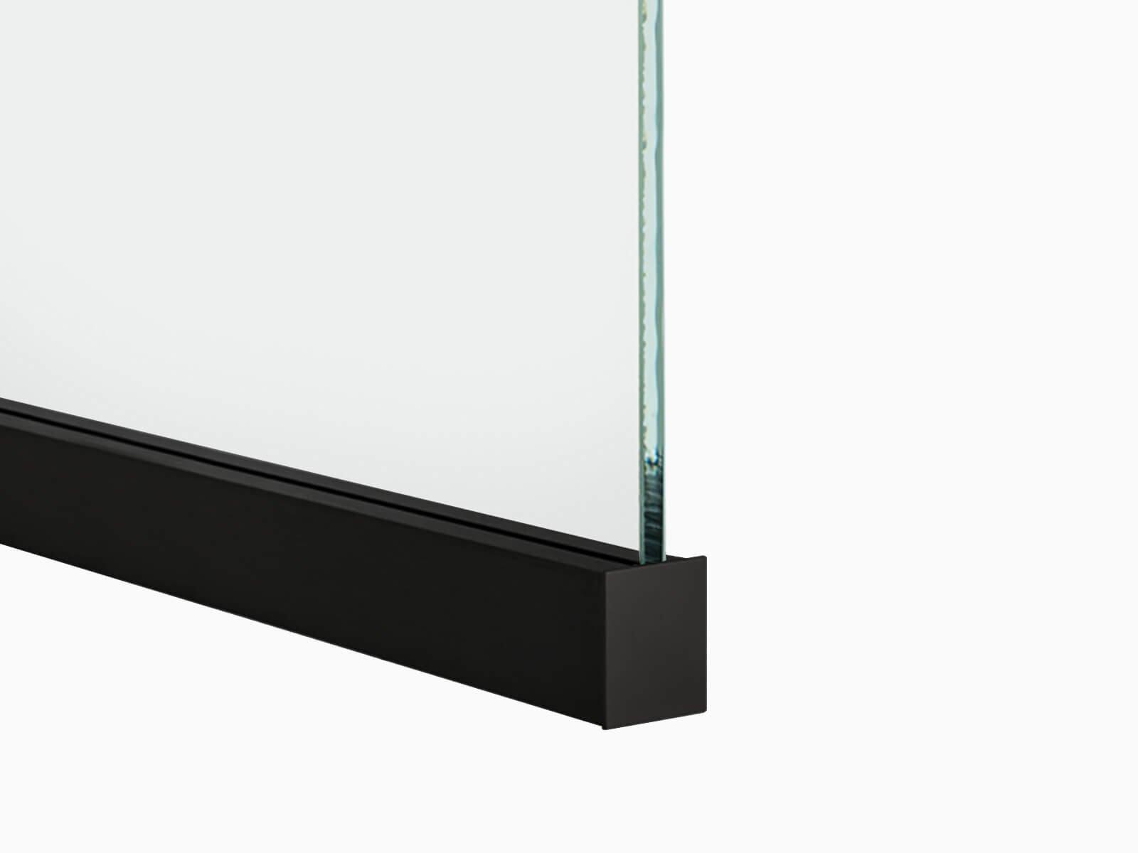 Trennwand Profil Slim Black Edition mit Glasscheibe