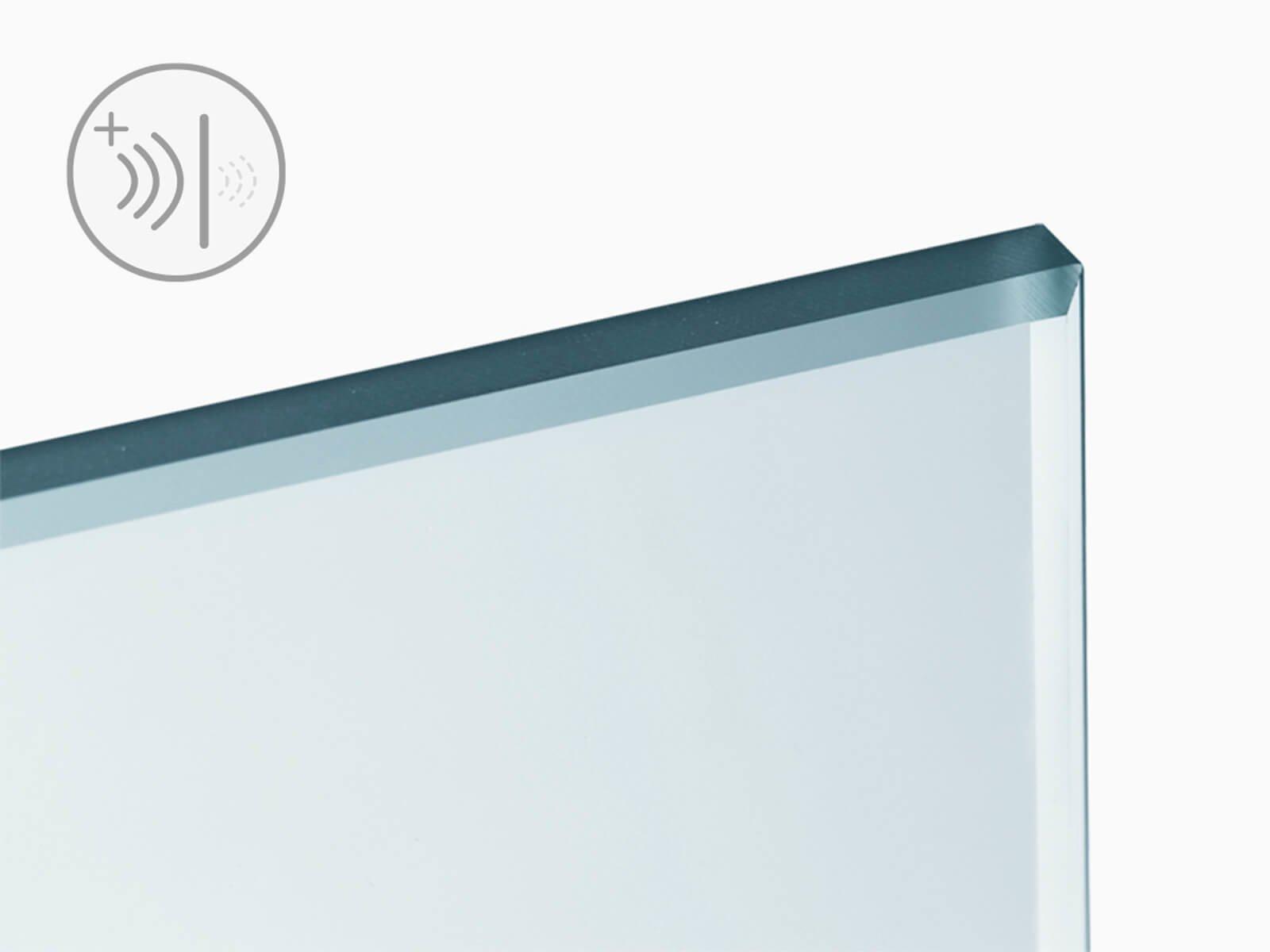 Illustration ESG Glasm mit Schallschutzsymbol