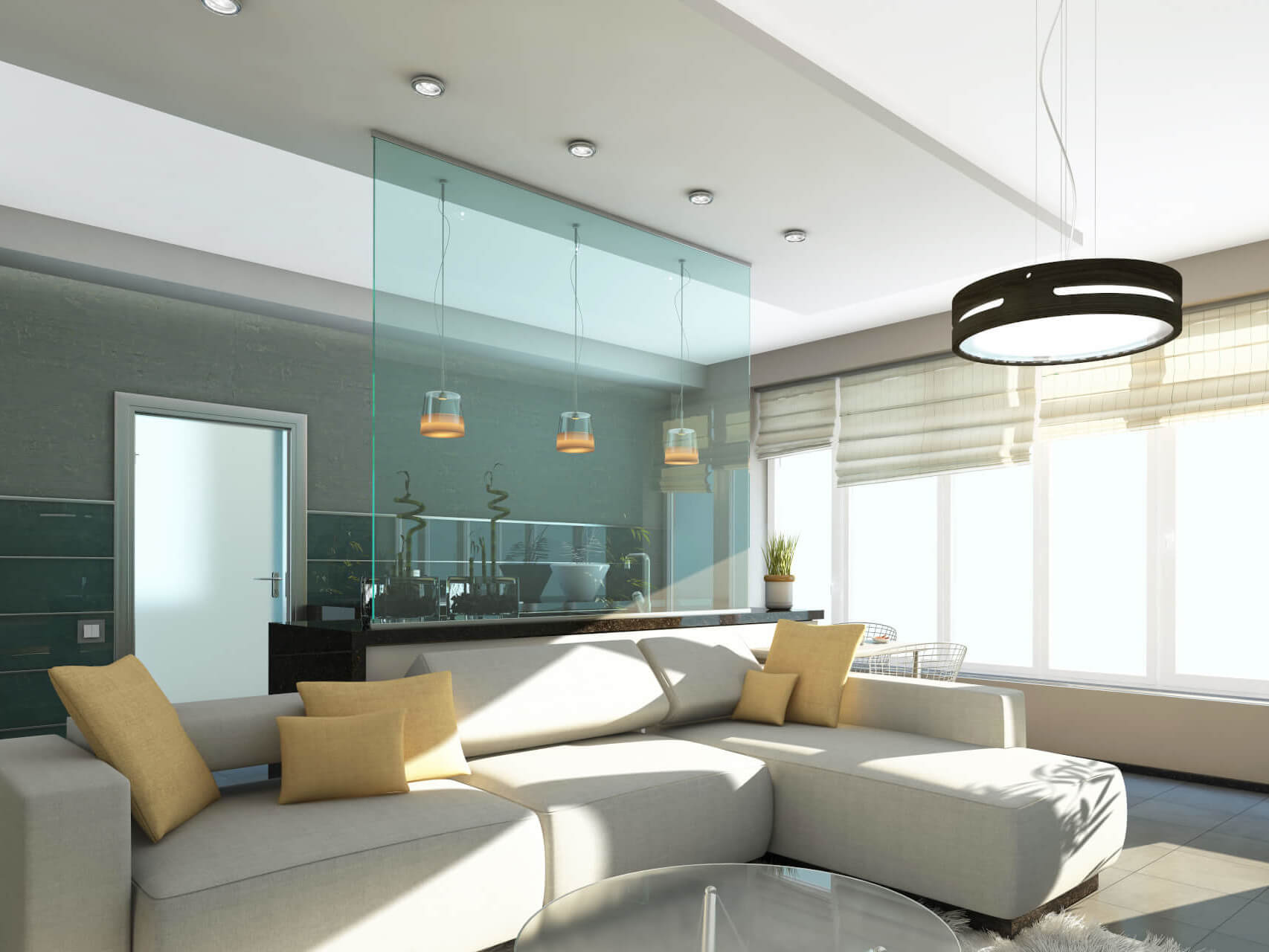 farbiger-glaswand-raumtrenner-zwischen-küche-und-wohnbereich
