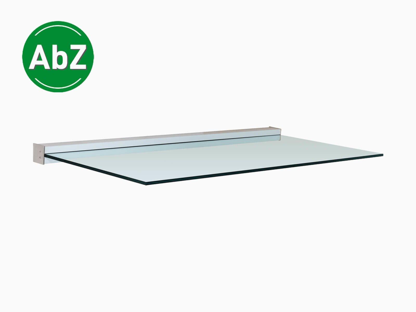 Bauweise Vordach Glas freitragend
