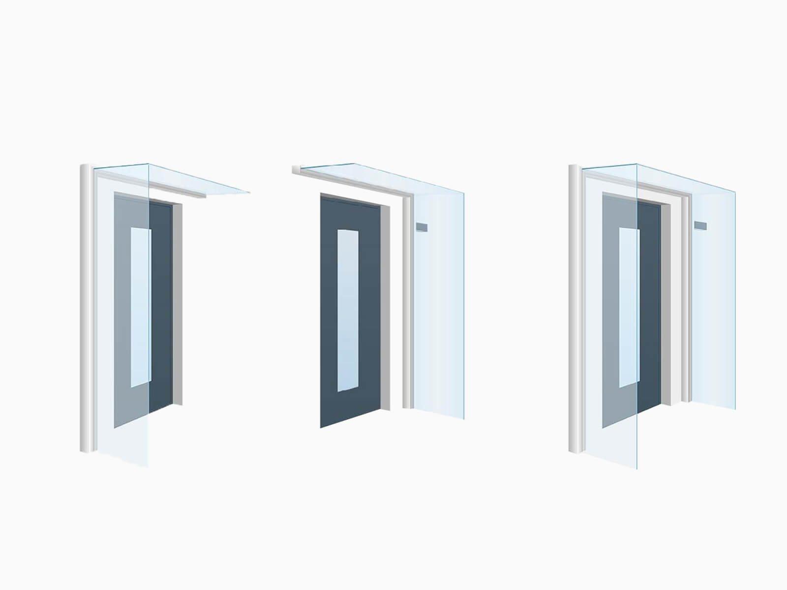Glasvordach mit Windschutz rechts links und beidseitig