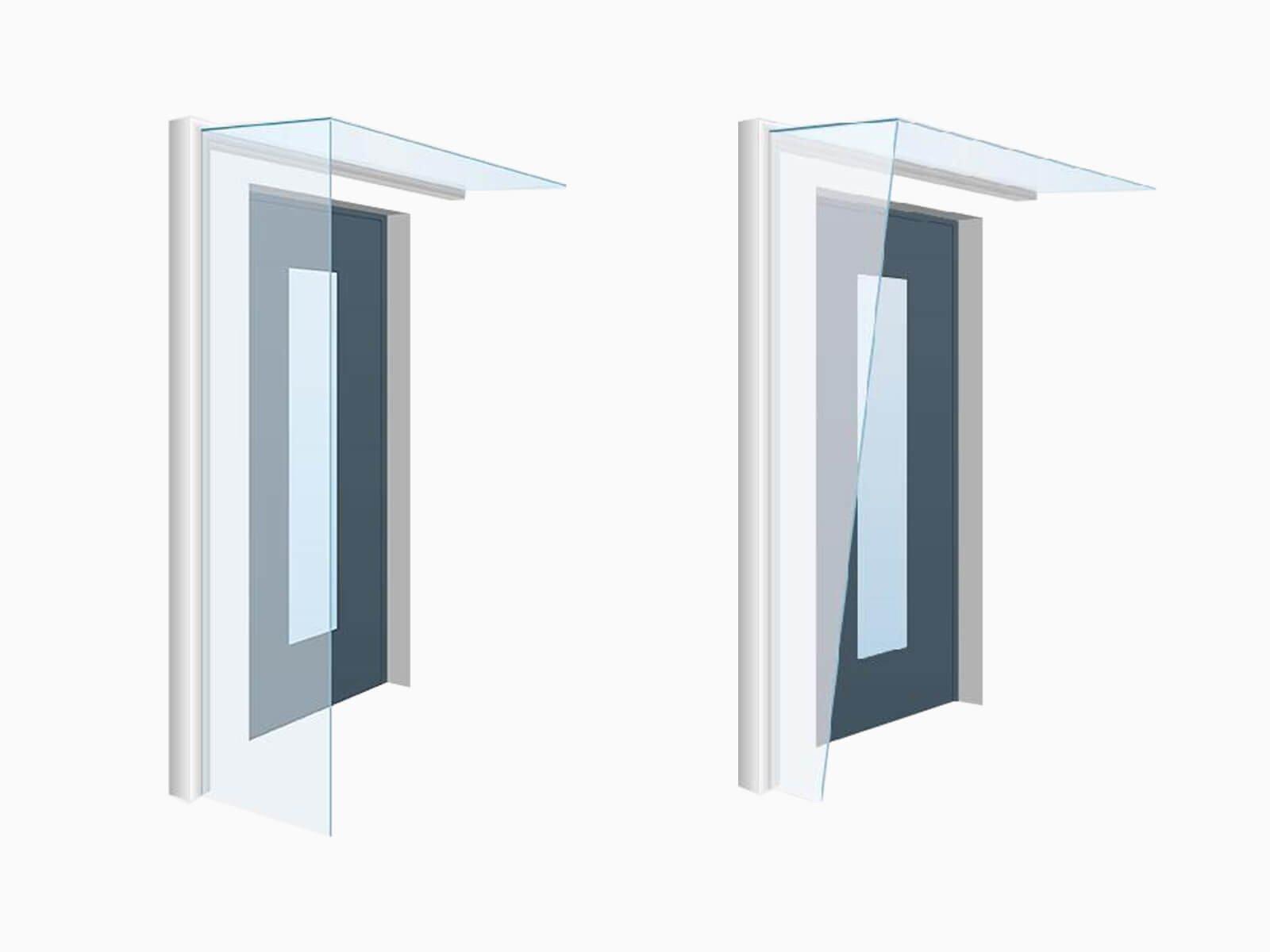 Vordach mit Seitenwand mit und ohne Schräge