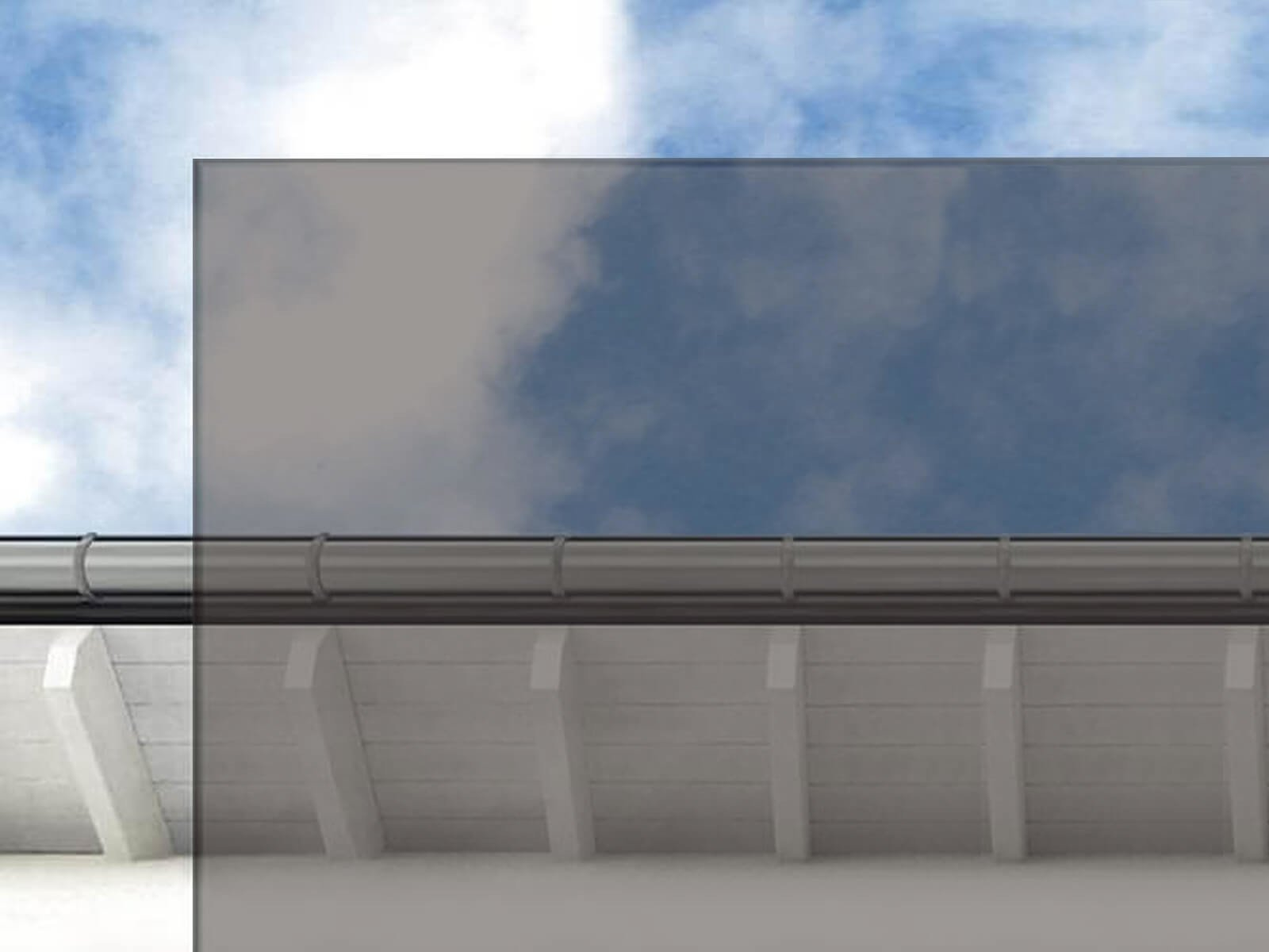 Graues Glas für Vordach mit umlaufendem Stahlrahmen Ella