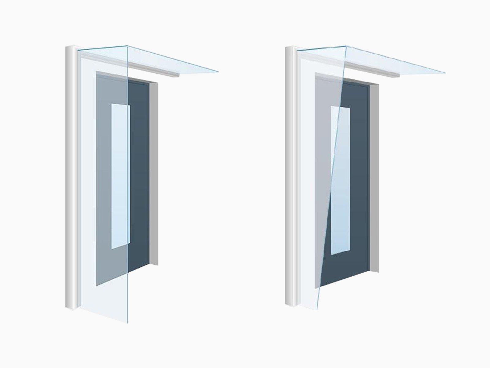 Individuelle Glas und Schrägschnitte beim Seitenwindschutz Blend passend zu jedem Vordach