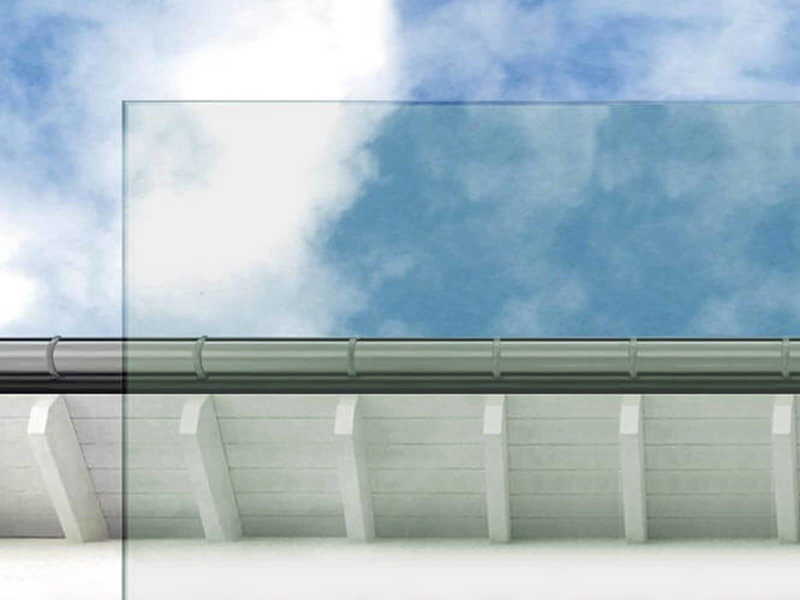 Glas Vordach mit Balken