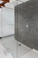 Begehbare Bodenebene Dusche mit einer Glaswand