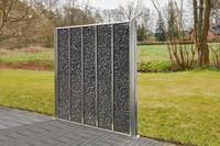 Hochwertige Gabione aus Edelstahl für die kreative Außengestaltung mit Steinen gefüllt Rost und wetterfest