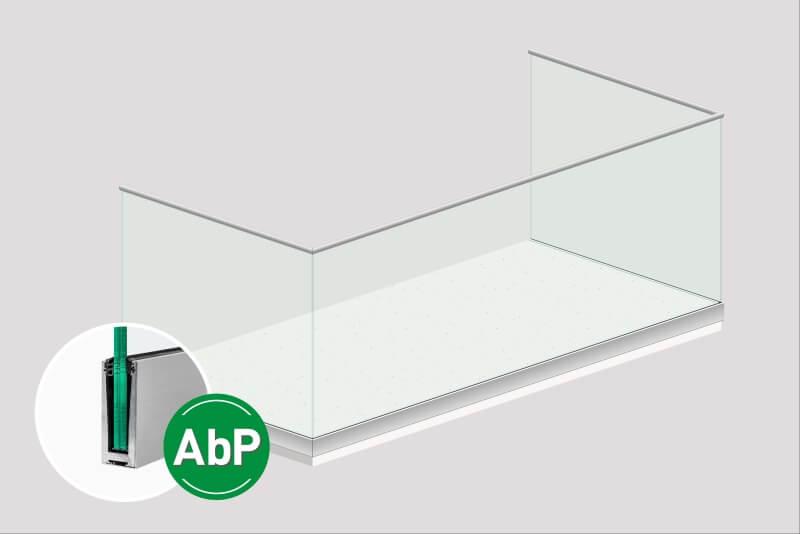 Glasgelaender Ante mit schmalem Profil