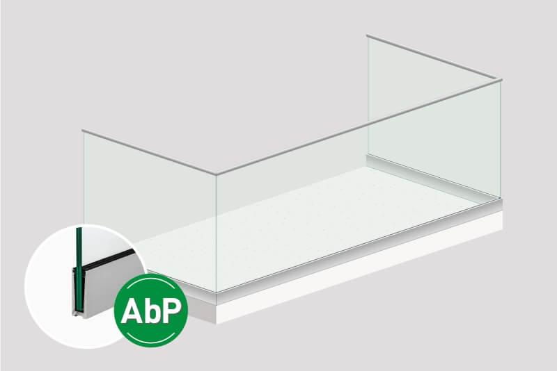 Glasgelaender Formal zur versetzten Anbringung an der Absturzkante