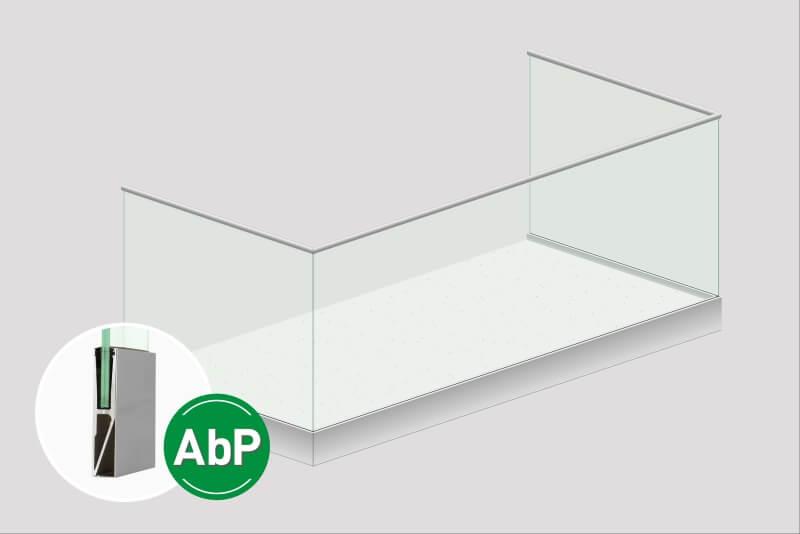 Glasgelaender Variante inkl. Kaschierung des Baukoerpers 8,5 cm