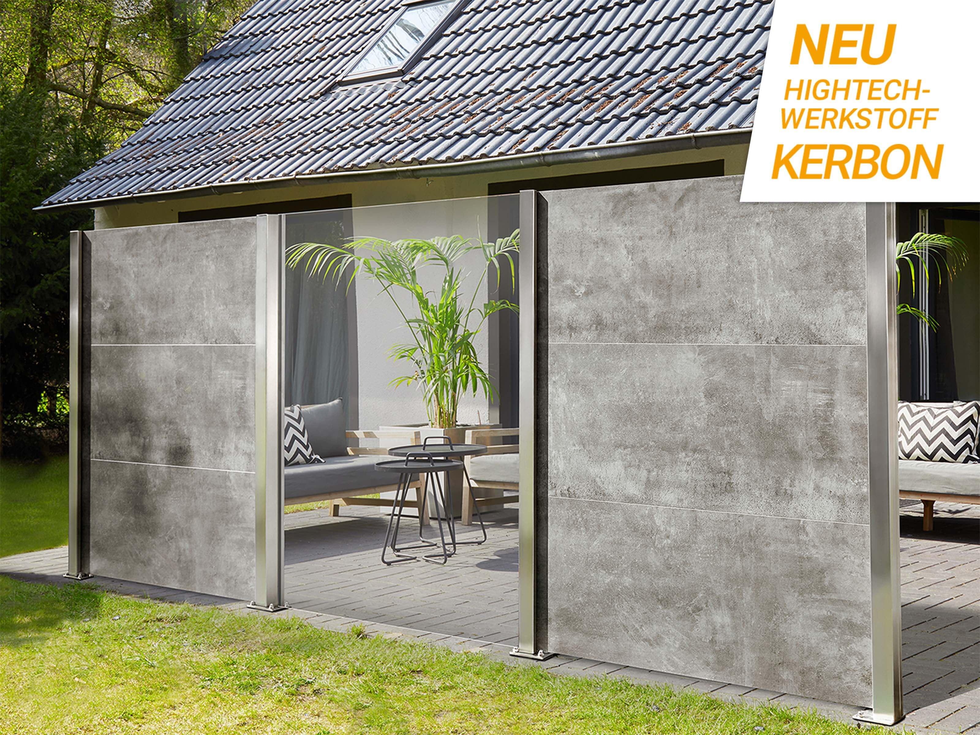 KERBON-Wind- und Sichtschutz, Klarglas mit Farbbeispiel Grau