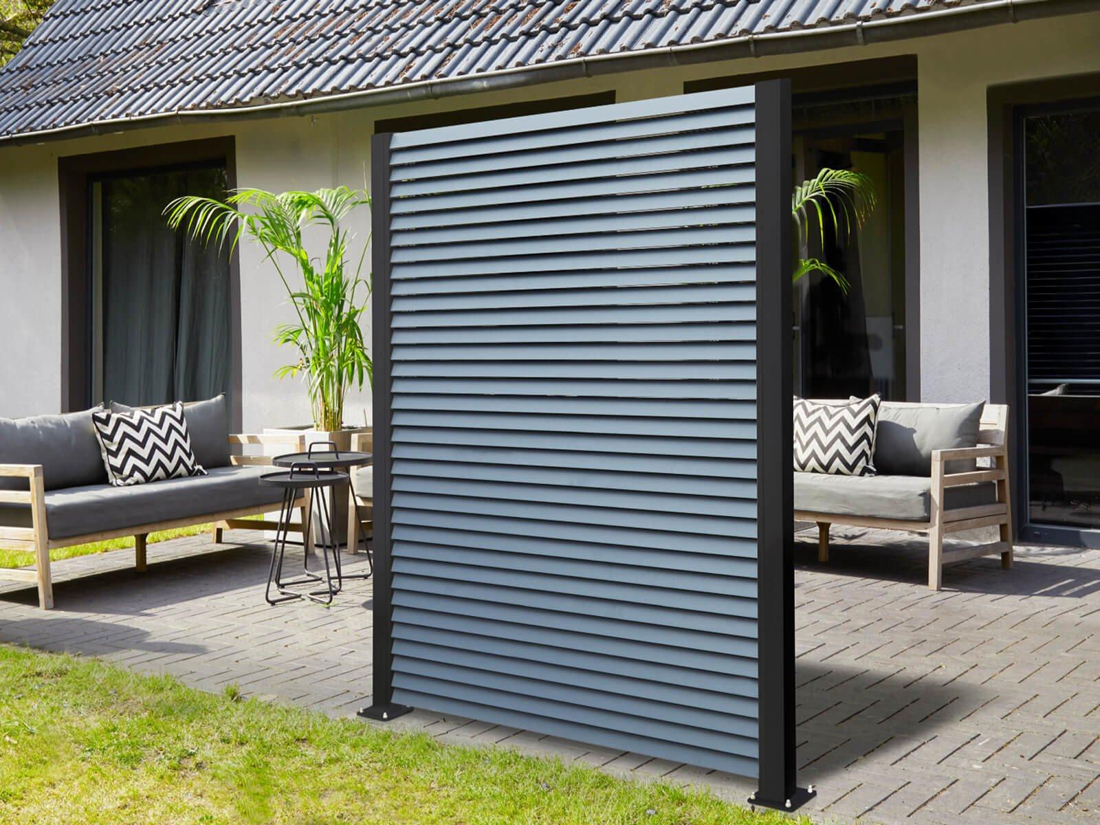 Lamellenzaun Porto in schwarz moderner Industrial Look für Garten und Terrasse