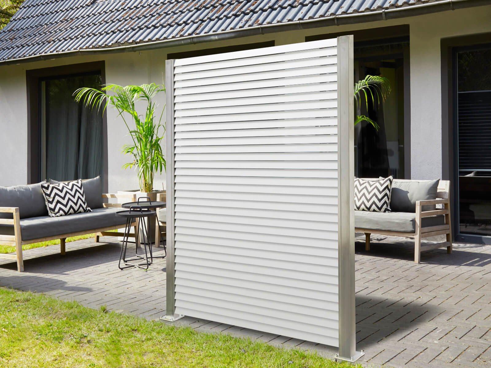 Wind- und Sichtschutz Lamellenzaun Porto in Weiß maximale Material und Verarbeitungsqualität
