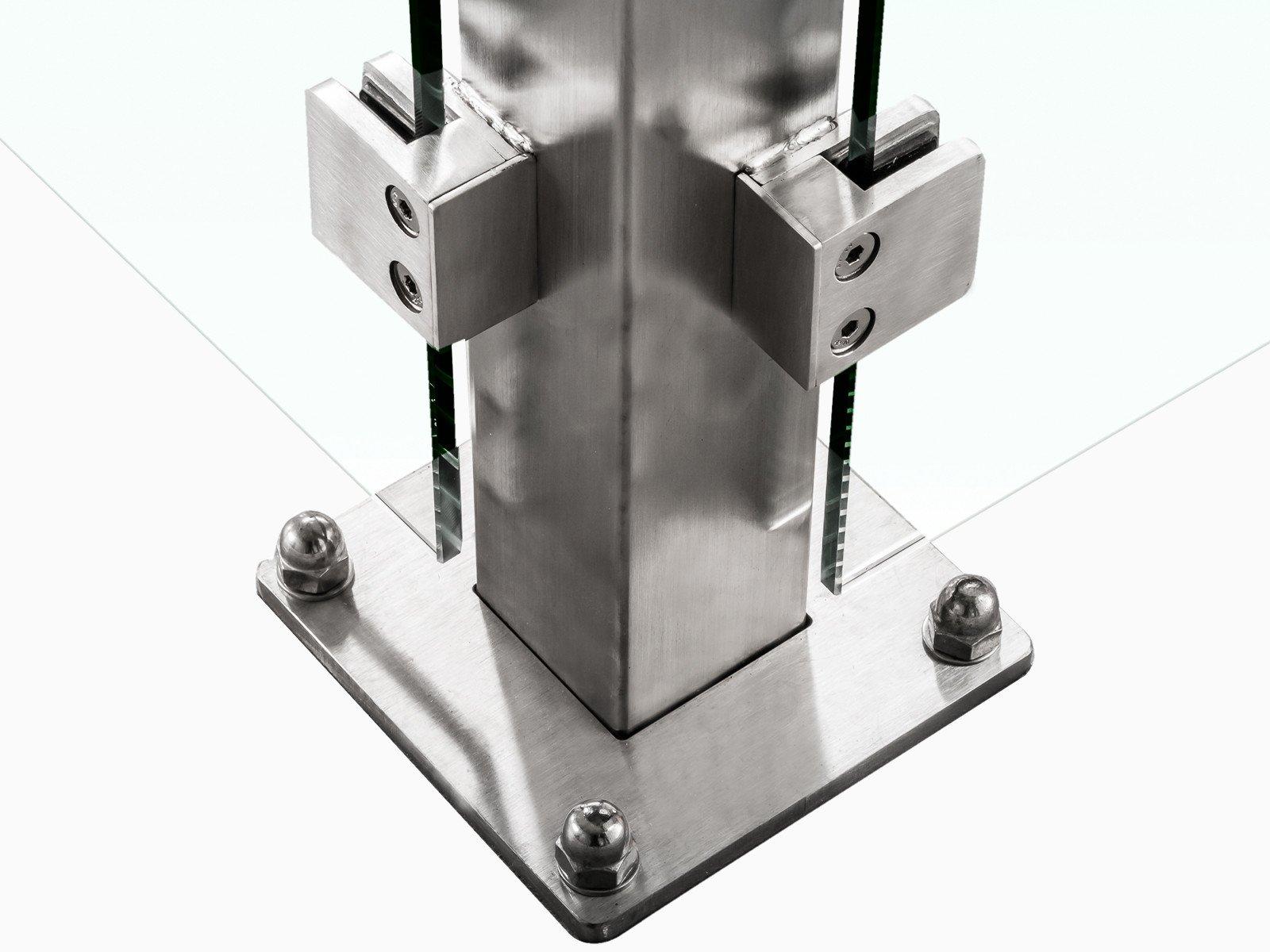 Bodenbefestigung Devitro verschraubt oder einbetoniert mit eckigem Design