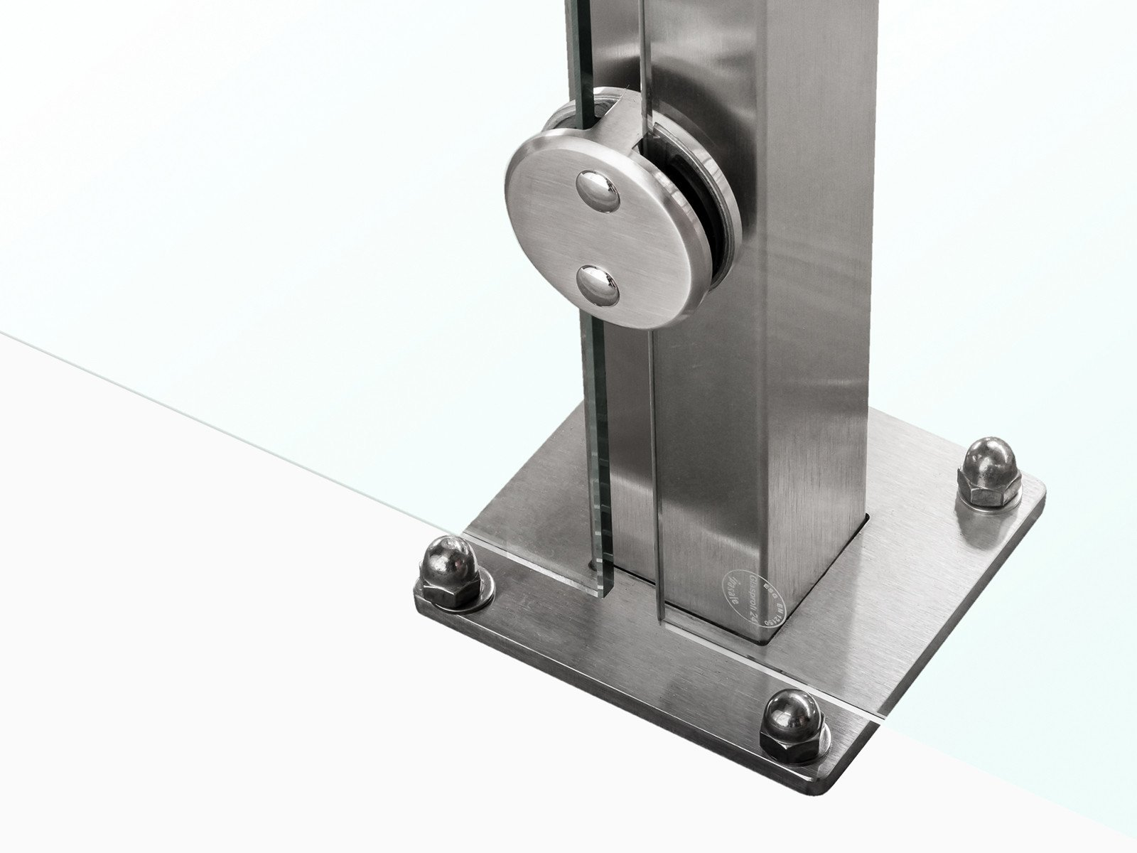 Bodenbefestigung Pfostensystem Devitro verschraubt oder einbetoniert mit runden Glashaltern