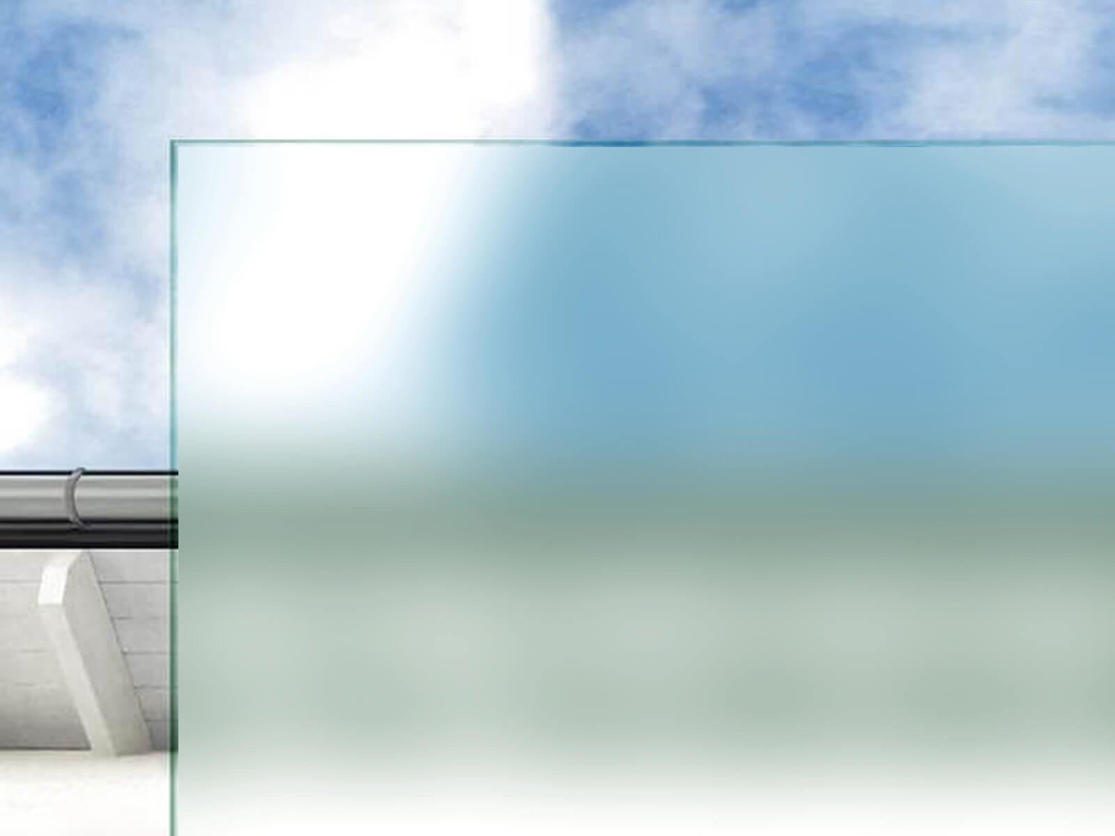 Individuelle Glasarten für Wind- und Sichtschutz satiniertes Klarglas